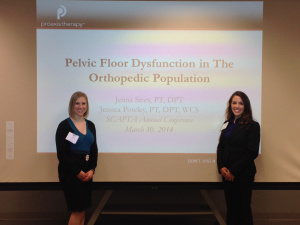 Jessica (right) presenting with colleague Jenna Sires, PT at South Carolina Physical Therapy Association Conference 2014